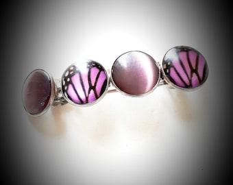 Large pink vintage Butterfly barrette