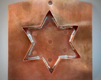 Copper Wall Art | Rustic Kitchen Decor | Copper Cookie Cutter | Country Home Decor | Rustic Wall decor | Metal Wall Art | Star of David