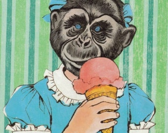 Original Collage, Mixed Media Art, Cute Chimp Art, Ice Cream Monkey, Chimpanzee Artwork, Anthropomorphic Wall Art