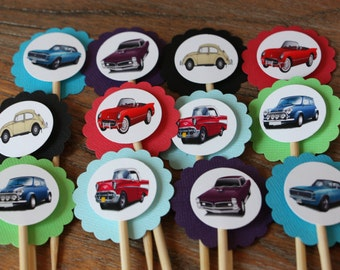 Antique / Vintage Car Themed Cupcake Toppers - Set of 12