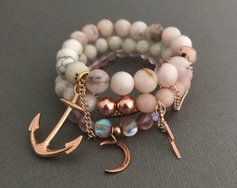 14k Pink Rose Gold Bracelet Stack, Adrienne Rose Gold Bracelet 3 Stack, Skull Bracelets in Rose Gold, Rose Gold Heart Bracelets,
