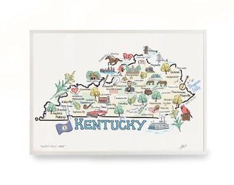 Kentucky map art etsy kentucky art 9x12 kentucky map kentucky print unframed print publicscrutiny Images