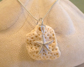 Coral and Sterling Silver Starfish Necklace Jewelry