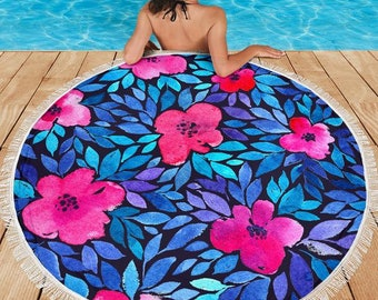 Tropical Flowers/Watercolor/Tropical Print/Blanket/Blankets/Beach/Pool/Throw/Picnic/Towel/Round/Tablecloth/Gift