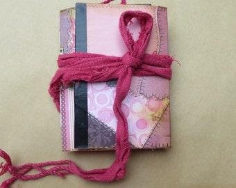 Pink Grandma's Quilt Mini Handmade Junk Journal/Notebook/Art/Memory/Dream/Planner/Scrapbook/Travel/Gratitude Journal