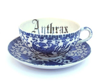 Anthrax Altered Vintage Teacup and Saucer