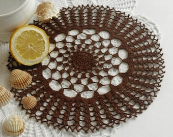 Brown doily Crochet doily Brown crochet doily Round crochet doilies Brown doilies 417