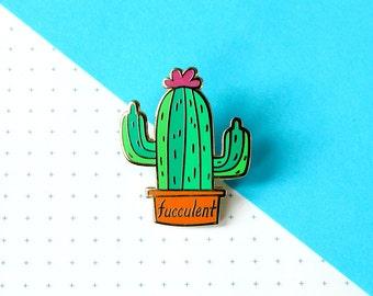 fucculent enamel pin