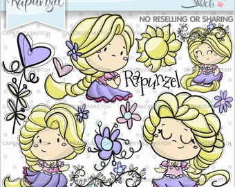 Rapunzel Clipart, Princess Clipart, Princess Graphics, COMMERCIAL USE, Handrawn Clipart, Hand Drawn, Sketch, Fairy Tale Clipart, Fairy Tale