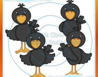 Cute lil Crows 1 Clipart (Digital Download)