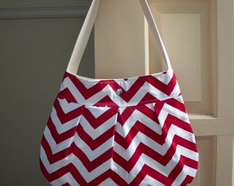 red chevron shoulder bag // medium pleated purse // gifts for her // the charlie bag // READY TO SHIP