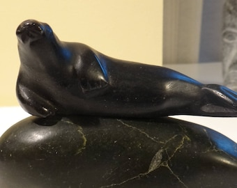 Black Seal  Resting on Planch Inuit  Eskimo Art  Soapstone Carving