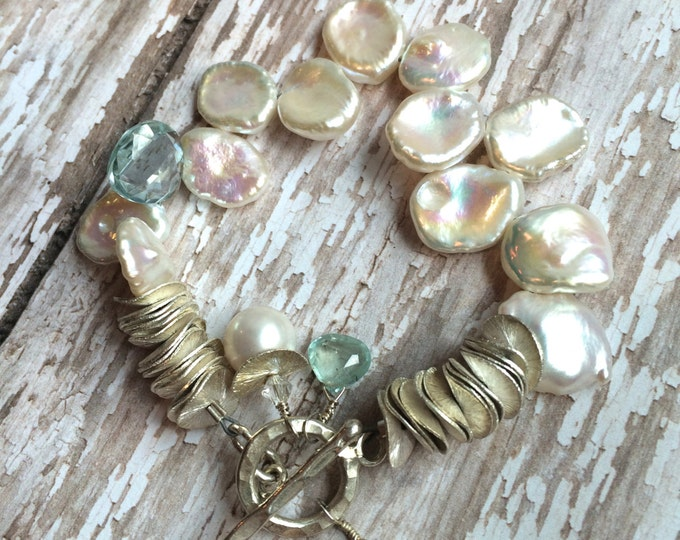 White Cornflake Pearl and Green Gemstone Bracelet--Keishi Pearls and Aquamarine