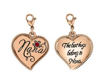 Nana Heart Charm With Personalized Birthstone