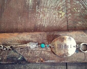 Brave Bracelet, Spoon Flatware Bracelet Cuff, Bohemian Hippie Gypsy Bracelet Cuff