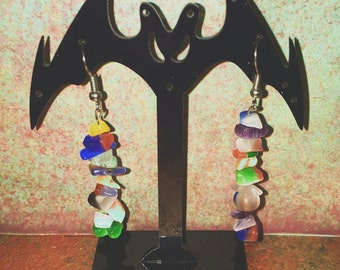 Colorful Dangly Stone Earings