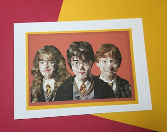 The Golden Trio 'Harry, Ron and Hermione' Handmade Greetings Card | Birthday Card
