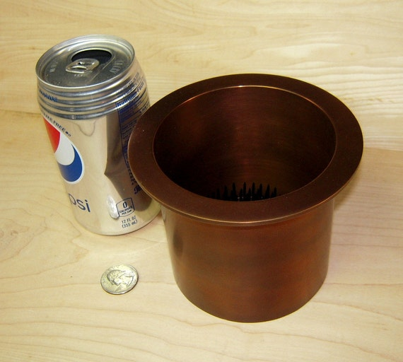 """1 Solid Copper Antique Brass Water Holding Floral Pin Frog Kenzan 5"""" Lip Fits a 4"""" Hole for Japanese Ikebana Vases 4"""" High Flower Holder"""