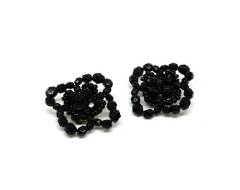 Vintage 1950's Clip on Earrings | Black Beaded Flower Clip Earrings | Vintage Earrings | Black Clip earrings | Statement Beaded Earrings