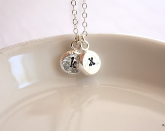 Mommy Necklace, Personalized Necklace, Silver Initial Necklace, Hand Stamped Pebble