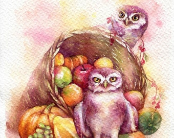 """PRINT – fruits owl Watercolor painting 7.5 x 11"""""""