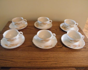 Golden Wheat Pattern Cups and Saucers (set of 6)