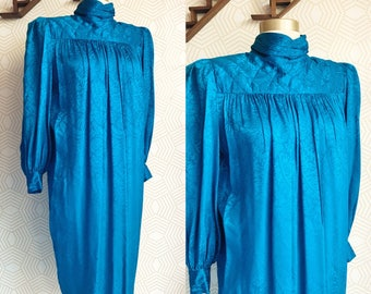 SALE !!! Vintage 1980s ARGENTI Silk Turtleneck Dress with Button Up Back, Vintage Silk Dress, 1980s, Silk Evening Dress, Evening Dress