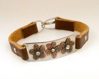 Copper Flower with Moonstone on Sterling Plate Leather Bracelet