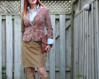 1980s Skirt - Brown Suede Pencil Skirt - Short Leather Skirt - Classic Vintage Beige Skirt Size - Small Waist 26""