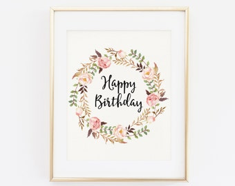 Happy Birthday Sign, Floral Printable Birthday Print, Party Decoration, Birthday Banner, Floral Happy Birthday Sign, Decor, Instant Download