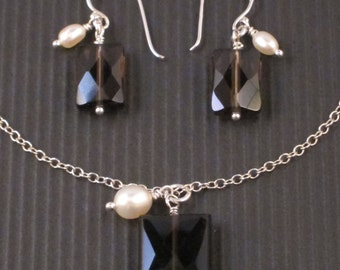 Smoky Quartz and Freshwater Pearl Necklace and Earring Set