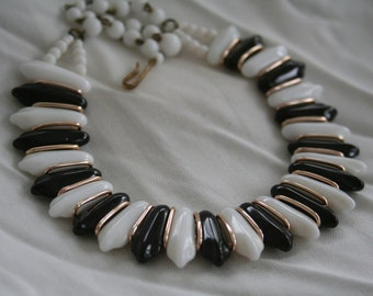 Black and White Glass Bib Necklace West Germany