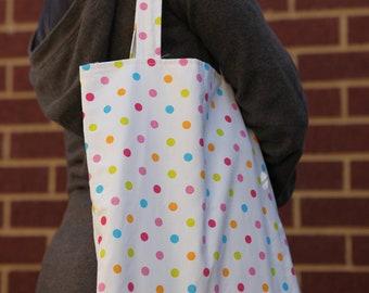 book bag, market tote bag, library book bag, carry handbag, polka dot bag, reusable shopping bag, shopper bag, weekend bag, bags for girls