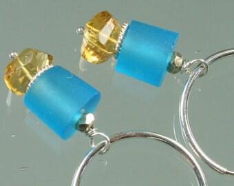 FINAL SALE * 50% off * SALE * Lampwork Glass Beads - Citrine - Sterling Silver -Earrings
