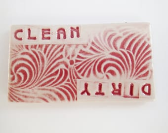 Ceramic Dishwasher Magnet - Dirty Dishes - Clean Dishes - Stocking Stuffer - Dirty or Clean Dishwasher Magnet  - non-scratching magnet