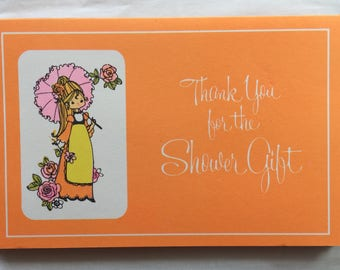 """Vintage """"Thank You for the Shower Gift"""" Card, Group of 6 Cards Lovely Orange Colour Blank Inside"""
