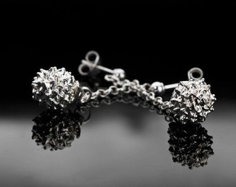 Sterling Silver Pine-Ball Earrings