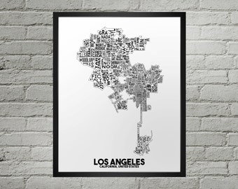 Los Angeles California Neighborhood Typography City Map Print