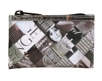 Magazine paper zip coiner - FREE SHIPPING - Recycled black and white wallets, Upcycled  pouch, Black and white coin purse, vegan wallet