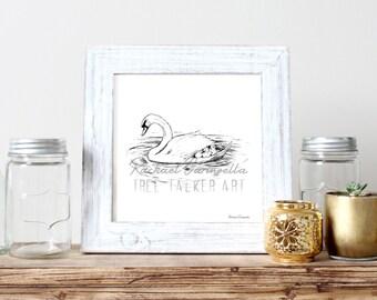 Swan Mother Illustration- Giclee Fine Art Print - Pen and Ink Illustration - Swan Family Drawing - Artist Rachael Caringella