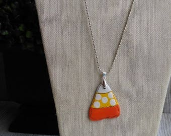 Upcycled Reclaimed Slate Pendant w/one of a kind Candy Corn Hand painted on 100+ year old Slate found in West Virginia Appalachian Mountains