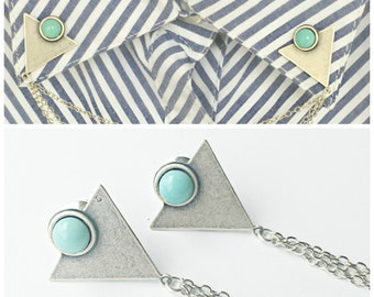 triangle collar pins with turquoise stones silver , collar chain, collar brooch, lapel pin, triangle pin, triangle brooch
