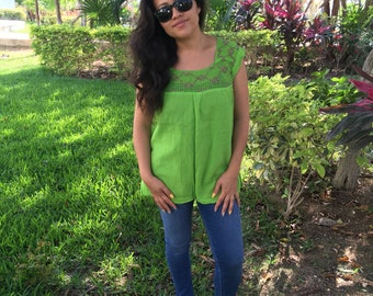 Traditional Mexican lemon green with detail Blouse of Manta