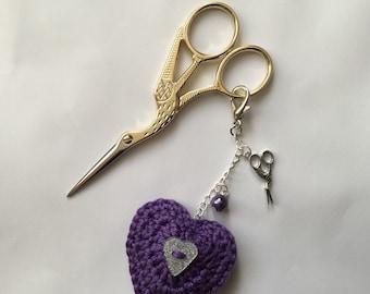 Scissor Keeper Fob with a Crochet Heart in Purple