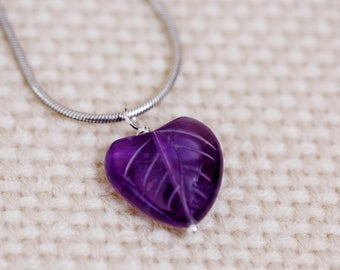 Pendant of deep purple amethyst ,hand-carved into heart-shaped leaf with leaf detail