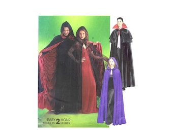 Misses and Mens Witch Vampire Dracular Gothic Cape Halloween Costumes McCalls 4139 Sewing Pattern Size S - M - L - Xl Uncut