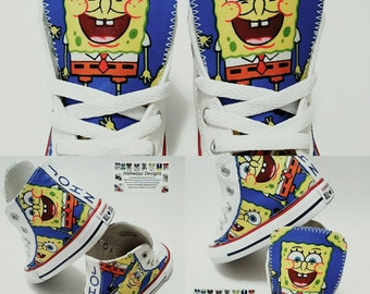 SpongeBob SquarePants converse, Nickelodeon shoes Converse, birthday outfit, licensed fabric sneakers