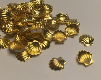 20 metal gold shell nail decals 5 mm (S11/5)