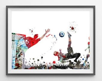 Soccer Watercolor Print Football match archival print Soccer players illustration bicycle kick and save by the keeper print [N219]