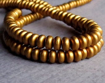 4mm Matte Metallic Antique Gold Czech Glass Bead Rondelle Spacer : 100 pc Gold Rondelle Beads